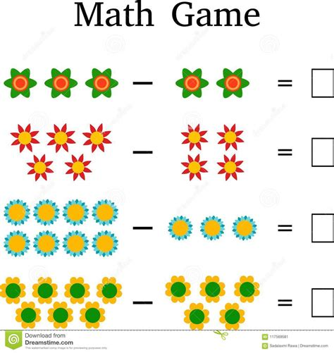 Mathematics Educational Game For Kids Stock Image ...