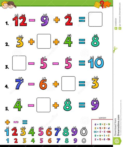 Maths Calculation Educational Game For Kids Stock Vector ...