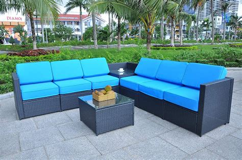 Mcombo Outdoor Patio Black Wicker Furniture Sectional Set ...
