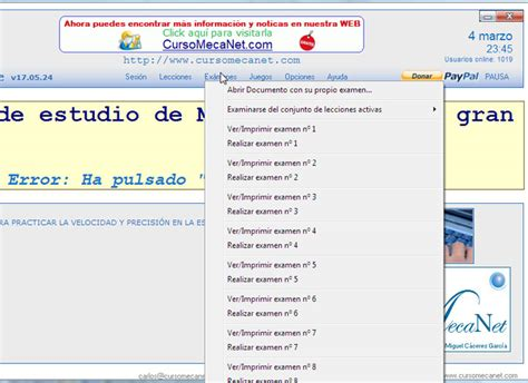 MecaNet, programa de mecanografía en español