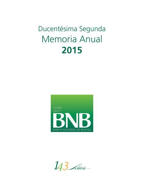 Memoria Anual 2015   Banco Nacional de Bolivia