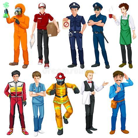 Men Doing Different Types Of Jobs Stock Vector ...