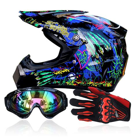 Men Helmet + Goggles + Gloves Racing Helmet Dirt Bike ATV ...