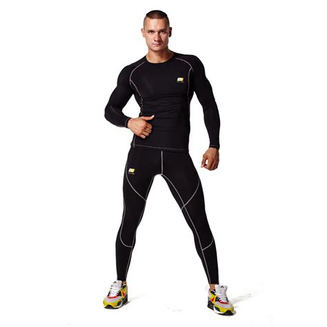 Men Sportswear Long Sleeve Compression Shirt Pant Sport ...