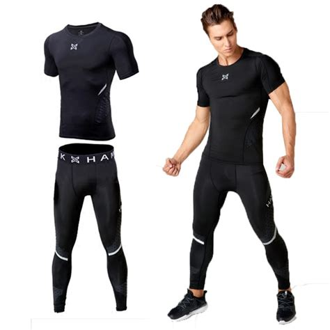 Men workout clothes stretch quick dry compression tights ...