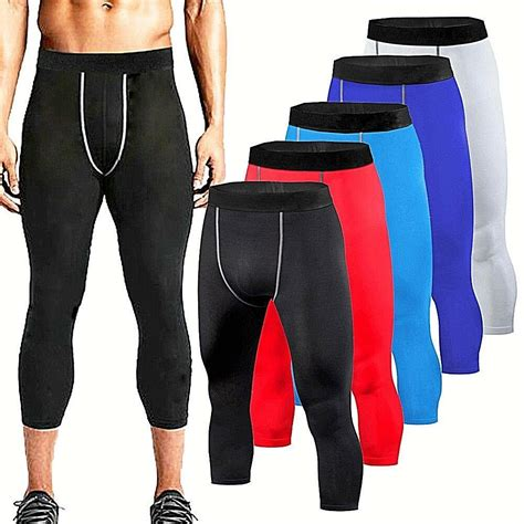 Mens Compression Shorts 3/4 Cropped Pants Gym Clothes Base ...