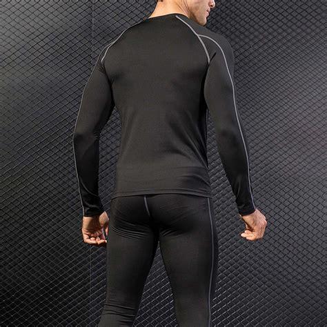 Mens Compression Sports Workout Shirts Pants Gym Clothes ...