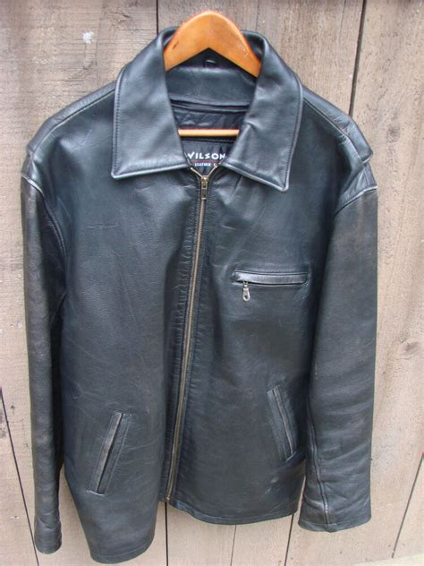 Mens Wilson Black Leather Jacket Large Tall LT Thinsulate ...