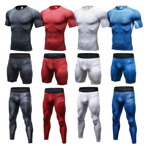 Mens Workout Compression Outfits Skin Tights Shirts Long ...