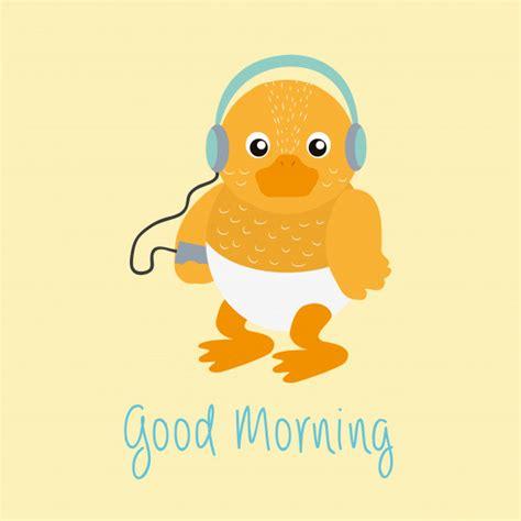Mensaje de buenos días con dibujos animados de pato de ...