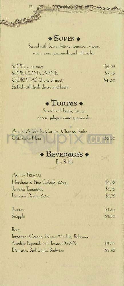 Menu of La Tolteca Restaurant in Santa Barbara, CA 93103
