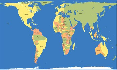 Mercator Countries on a Gall Peters Map : imaginarymaps