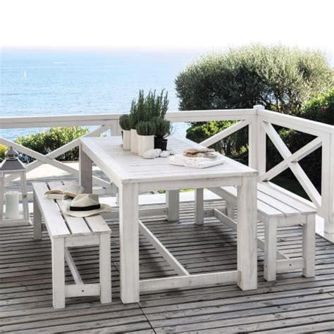 Mesa + 2 bancos de jardín de madera blanca L. 180 cm ...