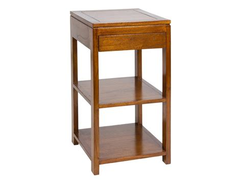 Mesa auxiliar colonial con cajón de madera color nogal