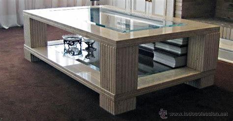 mesa de centro de mármol travertino y vidrio   Comprar ...