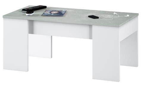 Mesa de centro elevable LINE2 Blanco y cemento   Conforama