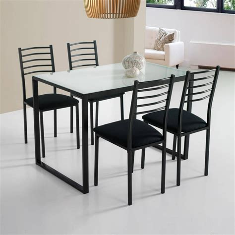 Mesa de cocina con 4 sillas, color negro y sobre de la ...