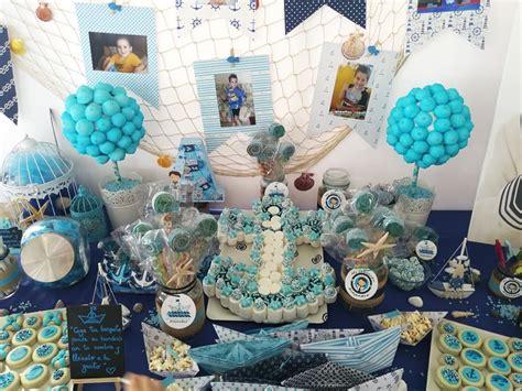 Mesa dulce comunión niño turquesa azul y blanca. Con ancla ...