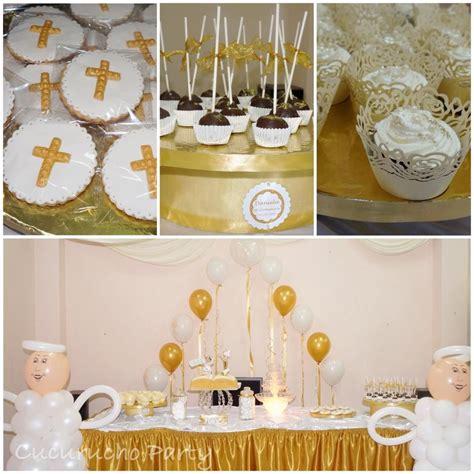 Mesa dulce Primera Comunión en dorado y blanco | Mesa de ...