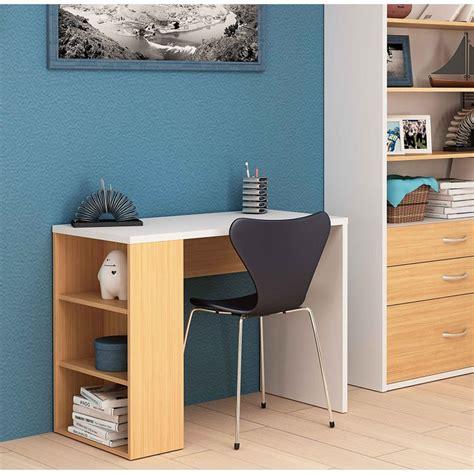 Mesa escritorio estudio, color blanco y roble claro, de ...
