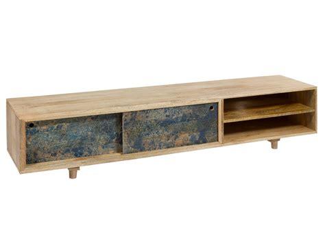 Mesa TV madera de mango 180 cm   Mueble TV alargado en ...