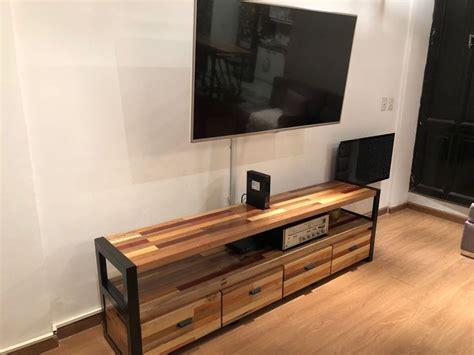 Mesa Tv Rack Industrial Hierro Y Madera Dura 2 Mt   $ 45 ...