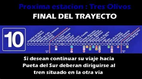 Metro de Madrid Megafonia Linea 10   YouTube