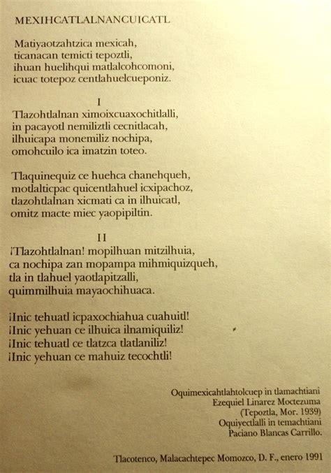 Mexicahtlalnancuicatl, o himno nacional mexicano...