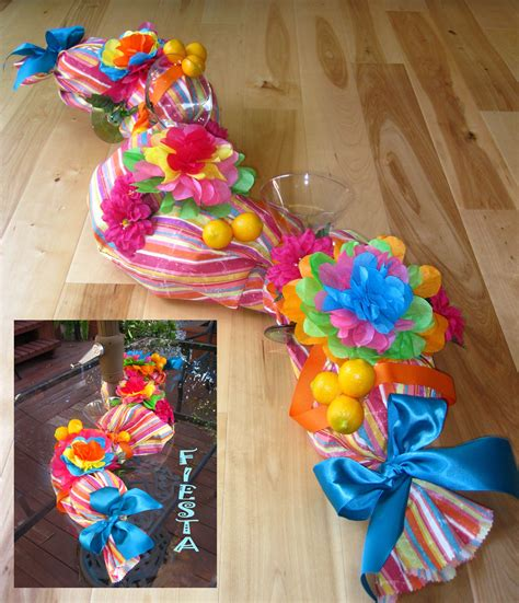 Mexican Fiesta inspired centerpiece  43 inch long, curved ...
