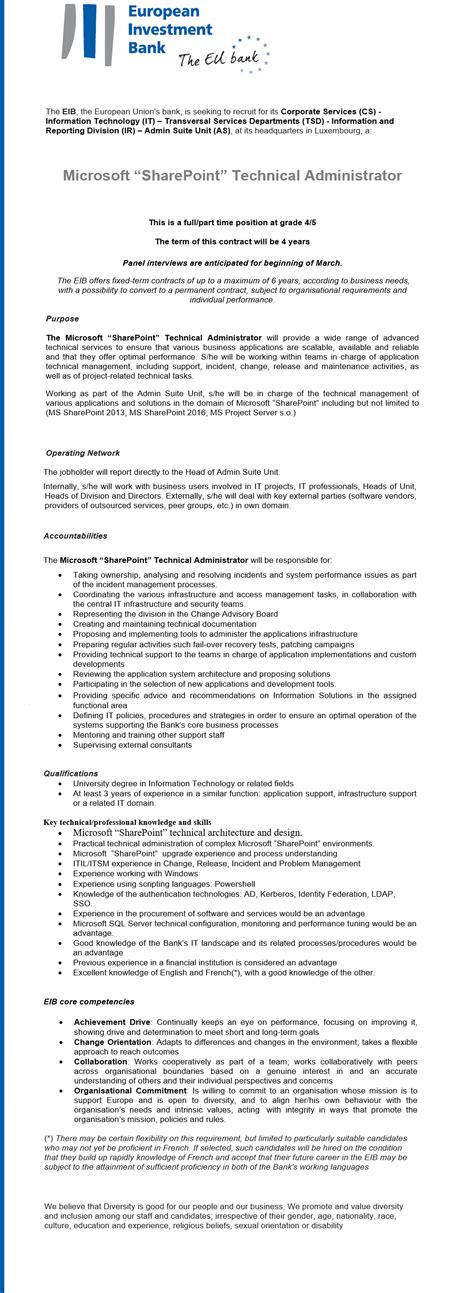 Microsoft SharePoint Technical Administrator Luxembourg ...