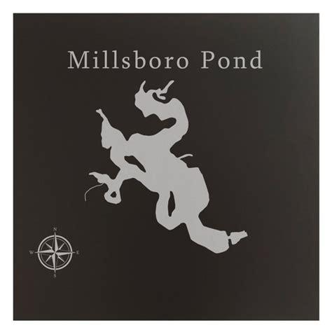 Millsboro Pond Map 12x12  Black Metal Wall Art Office ...
