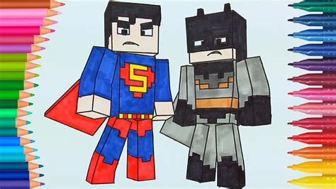 Minecraft Batman y Superman de pintar | Dibujos Para Niños ...