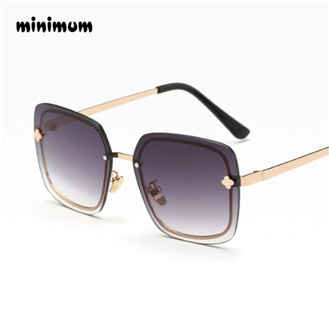 MINIMUM Rimless Oversized Square Sunglasses Women ...