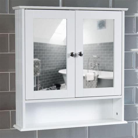 Mirrored Bathroom Cabinet Double Doors Bath Wall Mounted ...