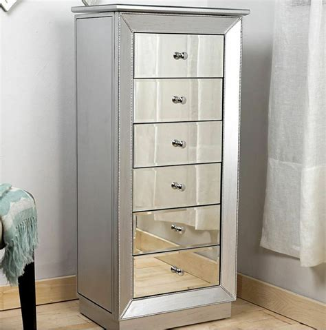 Mirrored Jewelry Armoire Large Standing 6 Drawer Silver ...