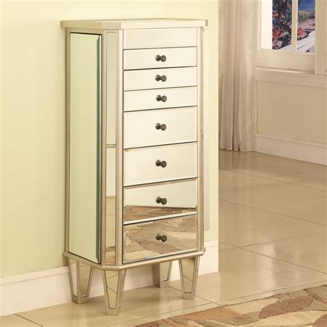 Mirrored Jewelry Armoire with Silver Wood Finish   Jewelry ...