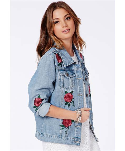 Missguided Caresa Rose Embroidered Denim Jacket in Blue   Lyst
