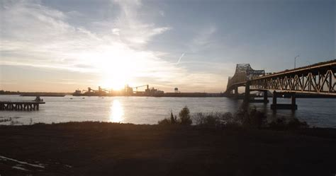 Mississippi River above official flood stage in Baton Rouge