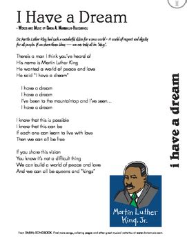 MLK Day Song    I Have A Dream  Free Lyric Sheet by World ...
