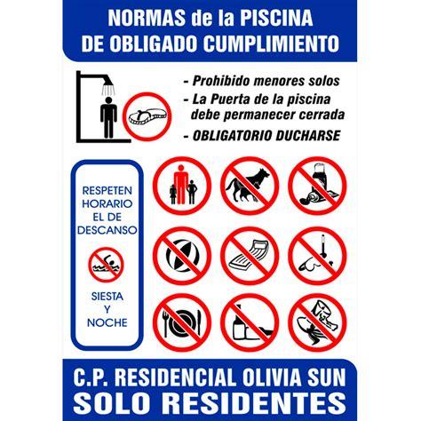 MODELO 1 – Cartel Normas de Piscina – 100×65 cms – Bo III ...