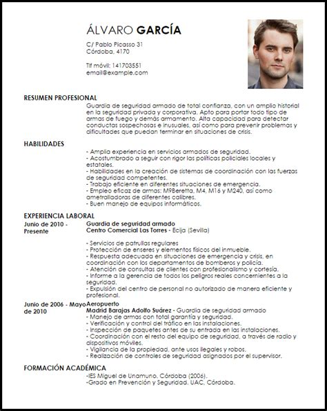 Modelo Curriculum Vitae Guardia de Seguridad Armado ...