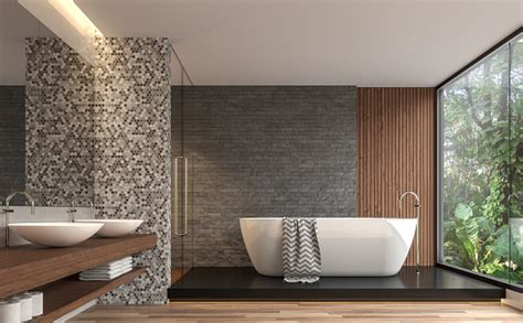 Modern Contemporary Bathroom With Nature View 3d Render ...