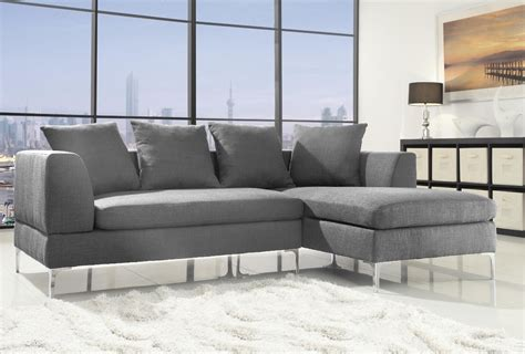 Modern Corner Sofa Grey Linen Fabric L Shaped RH Chaise ...