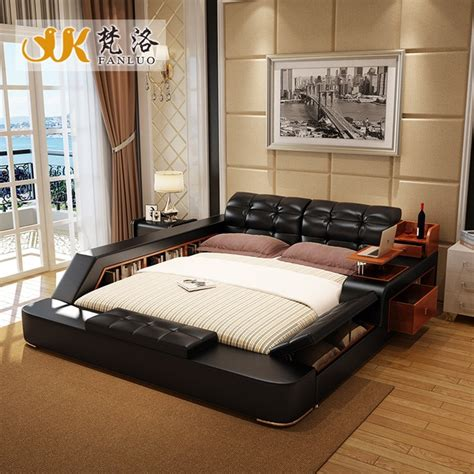 modern leather queen size storage bed frame with side ...