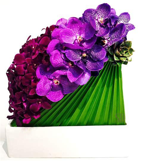 Modern orchid arrangement. Dendros, vandas and succulent ...