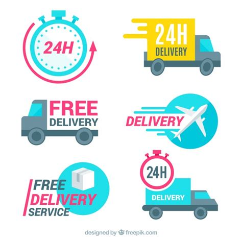 Modern pack of labels with delivery elements | Free Vector