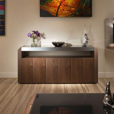 Modern Walnut Sideboard Cabinet Buffet Black Glass Top 1 ...