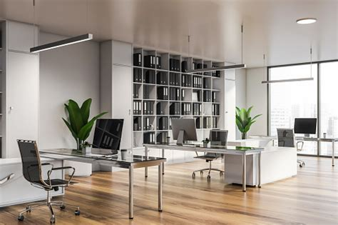Modern White Office Interior With Furniture Stock Photo ...