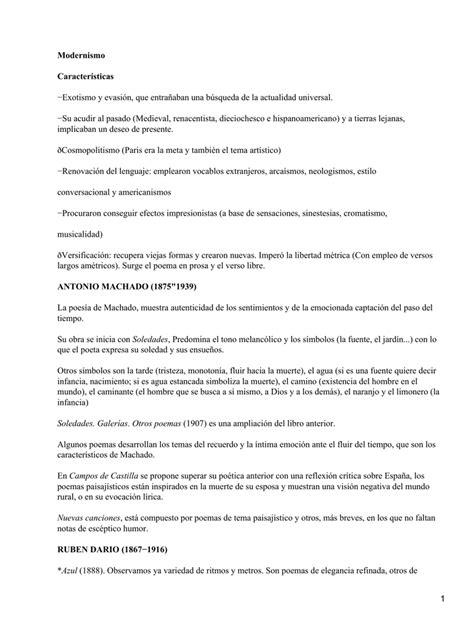 Modernismo Características −Exotismo y evasión, que ...