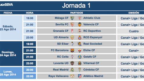 Modificación de horarios de la jornada 1 de la Liga BBVA ...